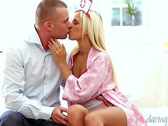 A cute girl in a sexy nurse uniform has sensual sex with her BF