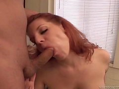Redhead Kayla Quinn gets fucked rough and jizzed on her big boobs