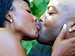 Seductive black hottie fucks with a horny hung stud