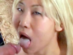 Foxy blonde Asian gets her fanny roughly banged