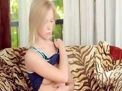 Blonde chick pose and rubbing