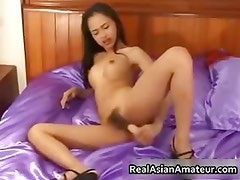 Petite asian babe strips and dildo part1