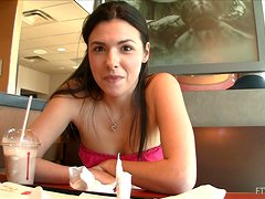 Danica masturabtes her pussy with a toy in a public place