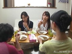 Three Japaense ladies are going t share his huge cock