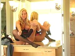 Kinky Blonde Inserting Her Nylons in Her Shaved Pussy