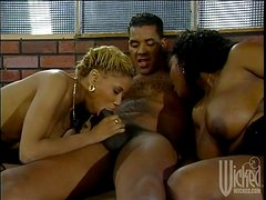 Ebony Threesome as a Black Guy Fucks Two Ebony Babes
