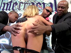 Busty White Pornstar in a Kinky Interracial Gangbang