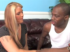 Blonde milf Joclyn Stone gets her hairy snatch smashed by a black stud