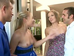 Two slutty blond haired bitches invites their neighbours.