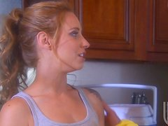 Slim Lindsey Meadows gets fucked nicely in a kitchen
