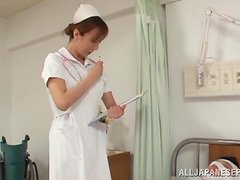 Sexy Japanese nurse is blowing a big one