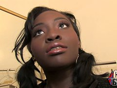 Ebony Cutie in Fishnets Blows Three White Guys