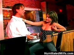 Slutty MILF gives a rimjob and gets fucked rough in a bar