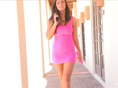 Sizzling brunette Whitney slams her vag with a vibrator outdoors
