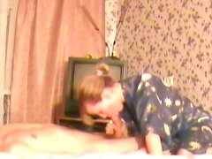 Blond haired slutty wifey performs her hungry hubby nice blowjob