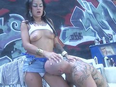 Angelina Valentine licks balls and gets her pussy and mouth fucked
