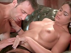 Dark haired wanton bim gets her sweet pussy greedily eaten by her horny lover