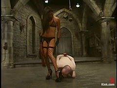 Gorgeous Asian babe is torturing this poor man