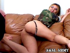A girl in a military uniform sucks a cock and gets her ass licked