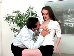 Busty milk skinned secretary gives heart stopping blowjob to her coworker