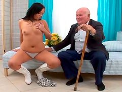 All natural chubby brunette beauty sucks and rides geezer's small dick