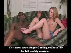 Hot blonde does blowjob and gets pussy licked and rides black cock