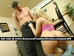 Horny blonde slut at work with her boss