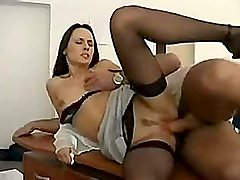 Hot teacher lady in stockings fucked