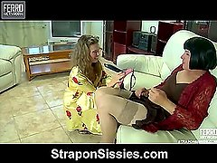 Alana&Monty pussyguy in strapon action
