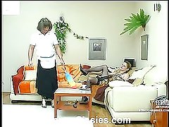 Ninette&Adrian pussyclothed dude strapon action