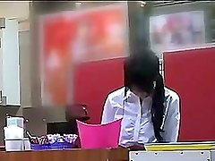 Waitress gets groped and brought to an orgasm in the arcade