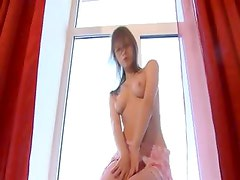 Dance and teasing in pink stocking