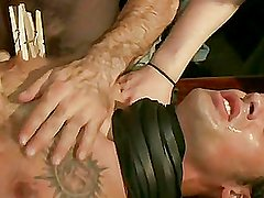 Tied In Public:Ripped Guy Receives His Aperture Shocked And At Mr.S Leather Store