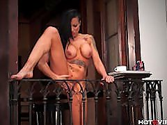 Stretching and Squirting off her Balcony