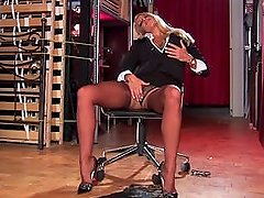sexy secretary dannii harwood teasing & stripping