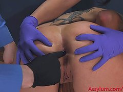 Anal virgin gets hard painal session with training wheels shoved up her ass