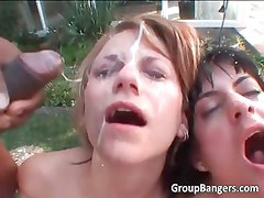 Hot and horny sluts gets awesome bukkake part1