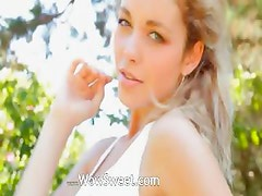 Madonna wet girl woman playing in garden