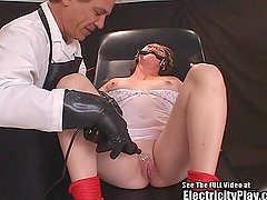 Anal Slut Gagged and Zapped on Exam Table