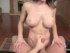 Mother helps Step-son to cum after caught him