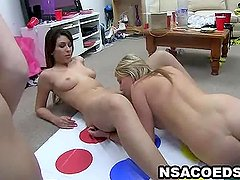 Two college dykes lick each other
