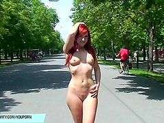 Sweet redhead babe kety naked on public streets