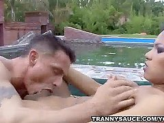 Shemale China and her man suck each others cocks