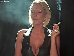 Lucy smoking in leather