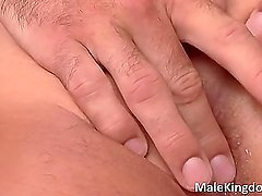 Gorgeous homo  is laid on bed doctor's