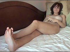 Solo Masturbation Scene on the Bed with Cute Brunette Teen