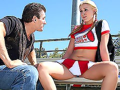 Outdoor Fucking On The Bleachers With A Blonde Cheerleader