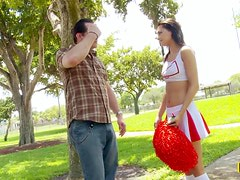 Hot Brunette Cheerleader Mimi Rayne Cheering for Cock