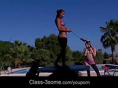 Hot girls having naughty 4some in vacation