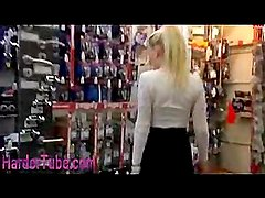 Hot blonde plays openly in hardware store